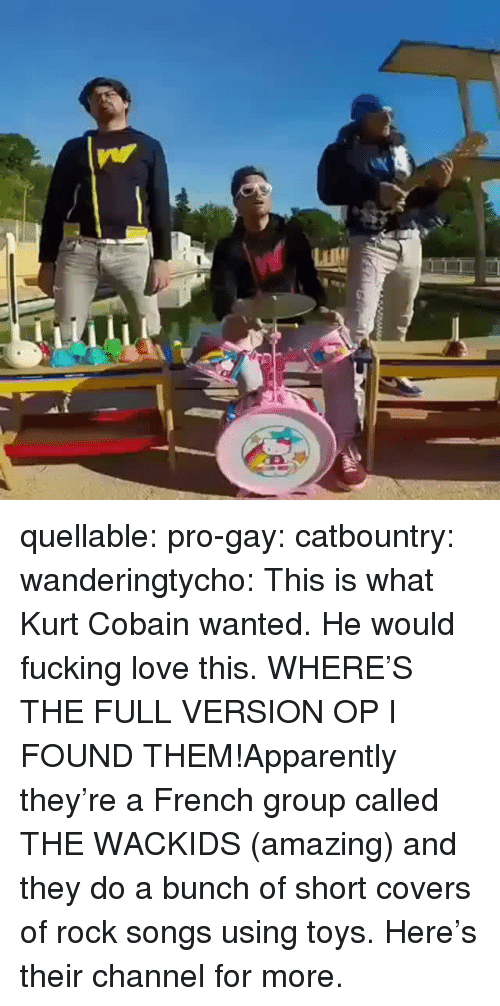 cobain: quellable:  pro-gay: catbountry:  wanderingtycho: This is what Kurt Cobain wanted.  He would fucking love this.  WHERE'S THE FULL VERSION OP  I FOUND THEM!Apparently they're a French group called THE WACKIDS (amazing) and they do a bunch of short covers of rock songs using toys.Here's their channel for more.