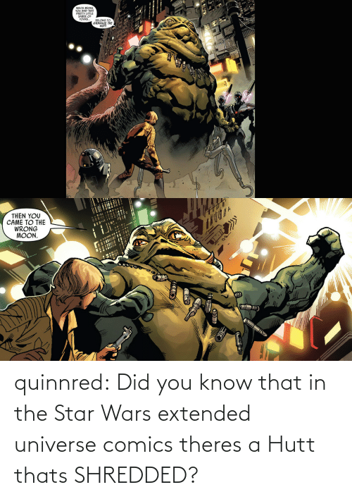 Comics: quinnred:  Did you know that in the Star Wars extended universe comics theres a Hutt thats SHREDDED?