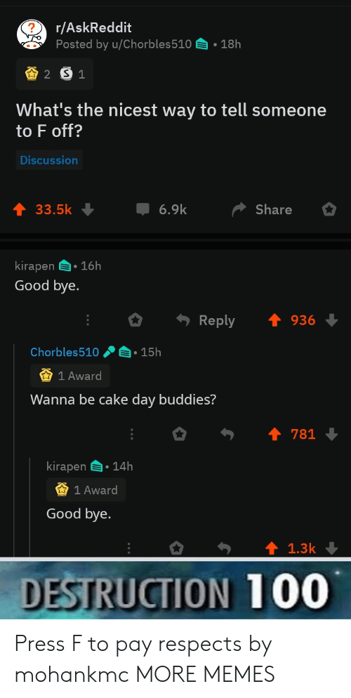 Dank, Memes, and Target: r/AskReddit  Posted by u/Chorbles510  18h  2 S1  What's the nicest way to tell someone  to F off?  Discussion  6.9k  33.5k  Share  kirapen 16h  Good bye.  Reply  936  Chorbles510  15h  1 Award  Wanna be cake day buddies?  781  kirapen  14h  1 Award  Good bye.  1.3k  DESTRUCTION 100 Press F to pay respects by mohankmc MORE MEMES
