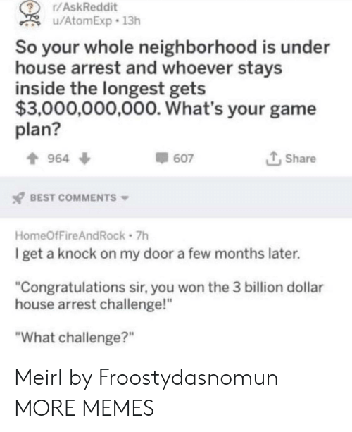 "Dank, Memes, and Target: r/AskReddit  u/AtomExp 13h  So your whole neighborhood is under  house arrest and whoever stays  inside the longest gets  $3,000,000,000. What's your game  plan?  t Share  964 ф  607  BEST COMMENTS  HomeOfFireAndRock 7h  get a knock on my door a few months later.  ""Congratulations sir, you won the 3 billion dollar  house arrest challenge!""  ""What challenge?"" Meirl by Froostydasnomun MORE MEMES"