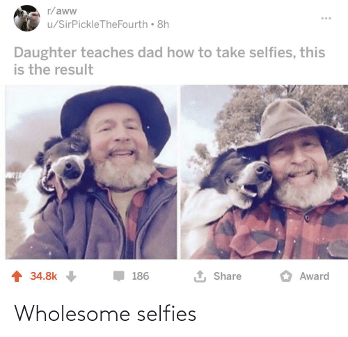 aww: r/aww  u/SirPickleTheFourth 8h  Daughter teaches dad how to take selfies, this  is the result  1 Share  1 34.8k  186  Award Wholesome selfies