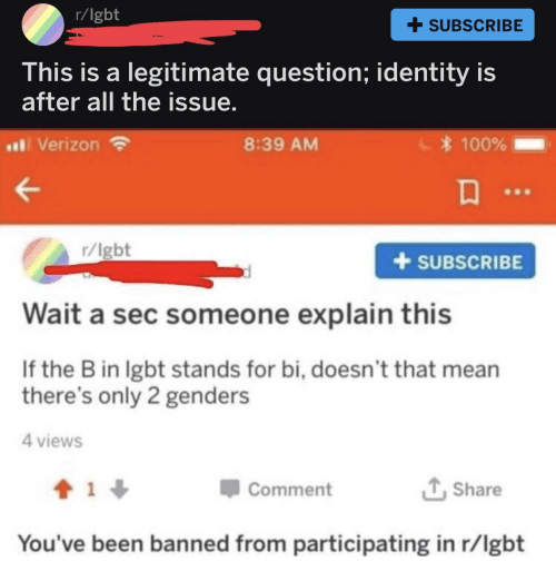 2 Genders: r/lgbt  + SUBSCRIBE  his is a legitimate question; identity is  after all the issue  al Verizon  8:39 AM  100%  r/lgbt  +SUBSCRIBE  Wait a sec someone explain this  If the B in lgbt stands for bi, doesn't that mean  there's only 2 genders  4 views  Comment  Share  You've been banned from participating in r/lgbt