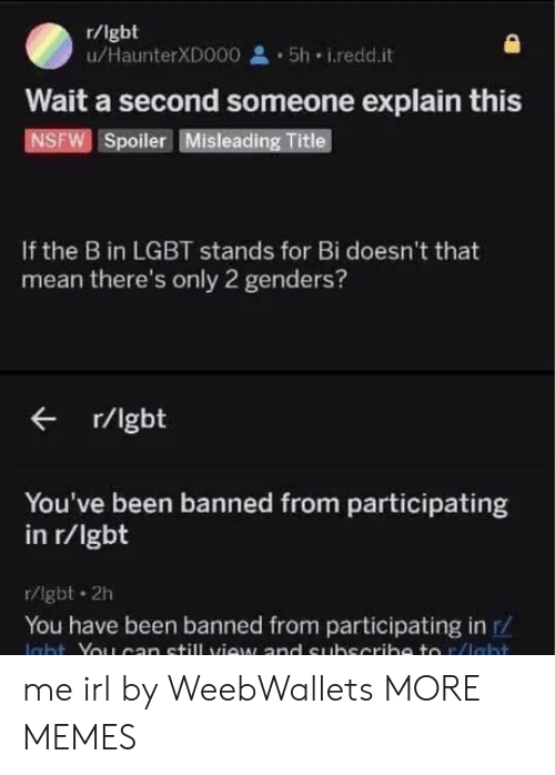 2 Genders: r/lgbt  u/HaunterXD000 5h i.redd.it  Wait a second someone explain this  NSFW Spoiler Misleading Title  If the B in LGBT stands for Bi doesn't that  mean there's only 2 genders?  r/lgbt  You've been banned from participating  in r/lgbt  r/lgbt 2h  You have been banned from participating in r/ me irl by WeebWallets MORE MEMES