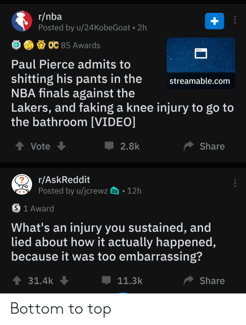 knee injury: r/nba  Posted by u/24KobeGoat 2h  +  ОС 85 Awards  Paul Pierce admits to  shitting his pants in the  NBA finals against the  Lakers, and faking a knee injury to go to  the bathroom [VIDEO]  streamable.com  tVote  Share  2.8k  r/AskReddit  Posted by u/jcrewz  12h  S 1 Award  What's an injury you sustained, and  lied about how it actually happened,  because it was too embarrassing?  31.4k  Share  11.3k Bottom to top