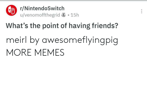 Nintendoswitch: r/NintendoSwitch  u/venomoffthegrid 15h  What's the point of having friends? meirl by awesomeflyingpig MORE MEMES