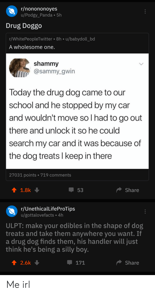 School, Panda, and Search: r/nonononoyes  u/Podgy_Panda 5h  Drug Doggo  r/WhitePeopleTwitter 8h u/babydoll_bd  A wholesome one.  shammy  @sammy gwin  Today the drug dog came to our  school and he stopped by my car  and wouldn't move so I had to go out  there and unlock it so he could  search my car and it was because of  the dog treats I keep in there  27031 points 719 comments  t 1.8k  Share  53  r/UnethicalLifeProTips  /gottalovefacts 4h  ULPT: make your edibles in the shape of dog  treats and take them anywhere you want. If  a drug dog finds them, his handler will just  think he's being a silly boy.  2.6k  Share  171 Me irl