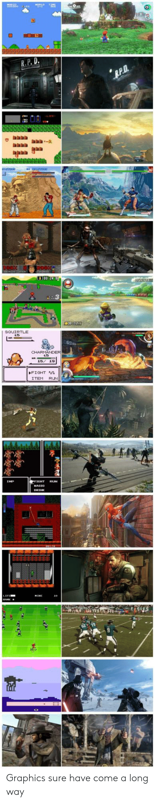 Run, Fight, and P & D: R.P. D  100 248  SQUIRTLE  FIGHT  ITEM RUN  IHP  IFE Graphics sure have come a long way