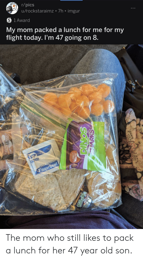 Flight: r/pics  u/rockstaraimz 7h imgur  S 1 Award  My mom packed a lunch for me for my  flight today. I'm 47 going on 8  Fingerbowl  FOO  SONIO  MilkyV  Bantocr The mom who still likes to pack a lunch for her 47 year old son.