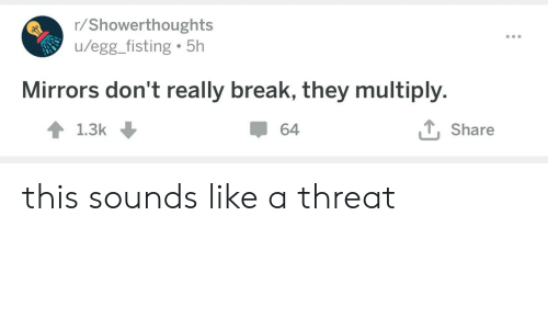 Fisting: r/Showerthoughts  /egg_fisting 5h  Mirrors don't really break, they multiply.  T, Share  64  1.3k this sounds like a threat