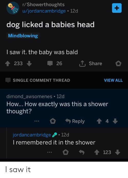 Head, Saw, and Shower: r/Showerthoughts  u/jordancambridge 12d  dog licked a babies head  Mindblowing  l saw it. the baby was bald  1233  T, Share  26  SINGLE COMMENT THREAD  VIEW ALL  dimond awsomenes 12d  How... How exactly was this a shower  thought?  Reply  4  ゆ0.  jordancambridge 12d  I remembered it in the shower  123 I saw it