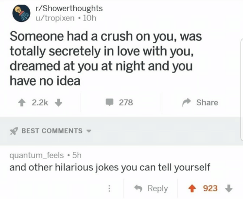 quantum: r/Showerthoughts  u/tropixen 10h  Someone had a crush on you, was  totally secretely in love with you,  dreamed at you at night and you  have no idea  2.2k  278  Share  BEST COMMENTS  quantum_feels 5h  and other hilarious jokes you can tell yourself  923  Reply