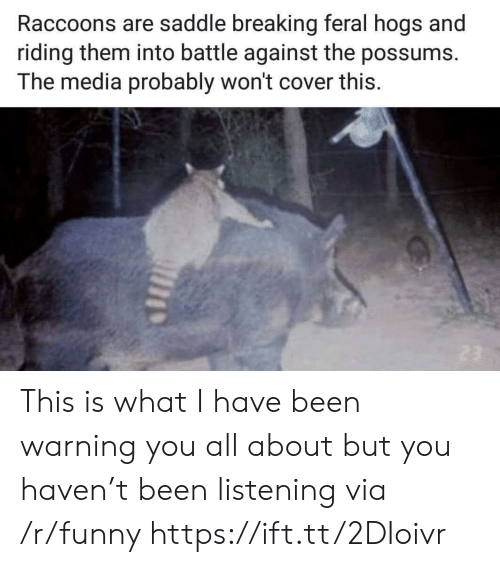 Possums: Raccoons are saddle breaking feral hogs and  riding them into battle against the possums.  The media probably won't cover this This is what I have been warning you all about but you haven't been listening via /r/funny https://ift.tt/2DIoivr