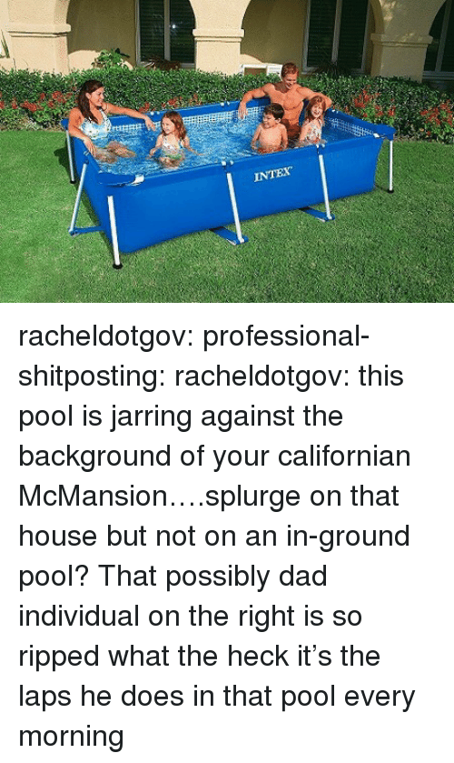 Dad, Target, and Tumblr: racheldotgov: professional-shitposting:  racheldotgov:  this pool is jarring against the background of your californian McMansion….splurge on that house but not on an in-ground pool?  That possibly dad individual on the right is so ripped what the heck  it's the laps he does in that pool every morning