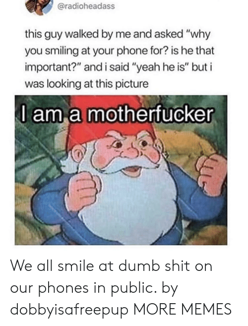 "Dank, Dumb, and Memes: @radioheadass  this guy walked by me and asked ""why  you smiling at your phone for? is he that  important?"" and i said ""yeah he is"" but i  was looking at this picture  l am a motherfucker We all smile at dumb shit on our phones in public. by dobbyisafreepup MORE MEMES"