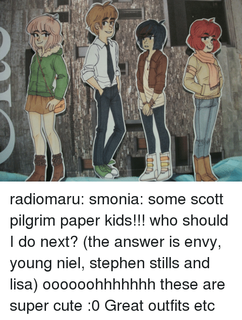 Cute, Stephen, and Target: radiomaru:  smonia:  some scott pilgrim paper kids!!! who should I do next? (the answer is envy, young niel, stephen stills and lisa)  oooooohhhhhhh these are super cute :0 Great outfits etc