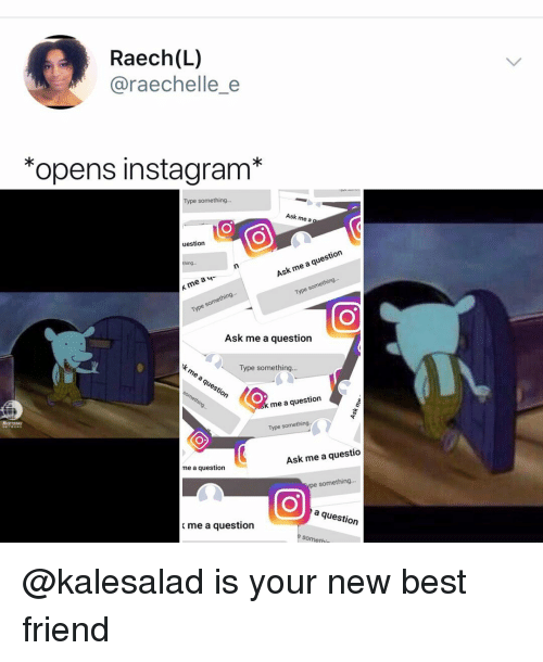 Best Friend, Instagram, and Memes: Raech(L)  @raechelle e  *opens instagram*  Type something.  Ask me a  uestion  Ask me a question  me ay  Type something..  Ask me a question  Type something...  questio  me a question  Type something  me a question  Ask me a questio  something...  a question  me a question  somethi @kalesalad is your new best friend