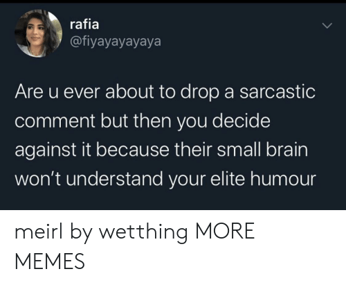 sarcastic: rafia  @fiyayayayaya  Are u ever about to drop a sarcastic  comment but then you decide  against it because their small brain  won't understand your elite humo meirl by wetthing MORE MEMES