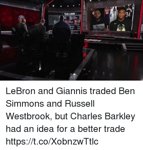 Russell Westbrook, Sports, and Charles Barkley: RAFT  23  TEAM LEBRON  BURANT  LEONARD  21 LeBron and Giannis traded Ben Simmons and Russell Westbrook, but Charles Barkley had an idea for a better trade https://t.co/XobnzwTtlc