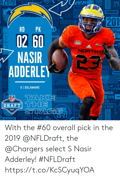NFL draft: RAFT  APRIL  CHARGERS  GELES n10  LA  Riddell ..  201  LA  EUTURE  02 60  NASIR 23  SHIN  Reeses S  ais  NORT  ADDERLE  LOS  S DELAWARE  2019  ARGERS  T2019  FUTURE  NFL  DRAFT|  RAFTTCHE  Lil  S NOW  2019  ID  1010 With the #60 overall pick in the 2019 @NFLDraft, the @Chargers select S Nasir Adderley! #NFLDraft https://t.co/KcSCyuqYOA