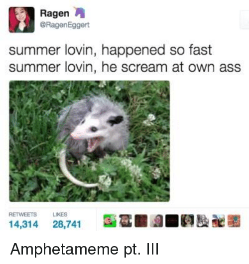 He Scream: Ragen  A  @Ragen Eggert  summer lovin, happened so fast  summer lovin, he scream at own ass  LIKES  14,314  28,741 Amphetameme pt. III
