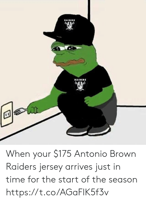 Football, Nfl, and Sports: RAIDERS  RAIDERS When your $175 Antonio Brown Raiders jersey arrives just in time for the start of the season https://t.co/AGaFIK5f3v