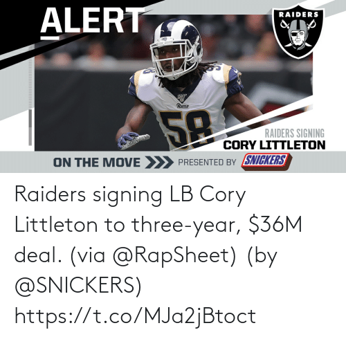 deal: Raiders signing LB Cory Littleton to three-year, $36M deal. (via @RapSheet)  (by @SNICKERS) https://t.co/MJa2jBtoct