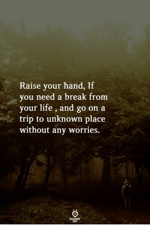 Need A Break: Raise your hand, If  you need a break from  your life, and go on a  trip to unknown place  without any worries.  ELATIONGHP  RULES