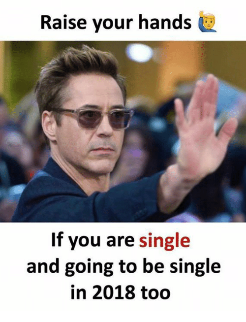 Memes, Single, and 🤖: Raise your hands  If you are single  and going to be single  in 2018 too