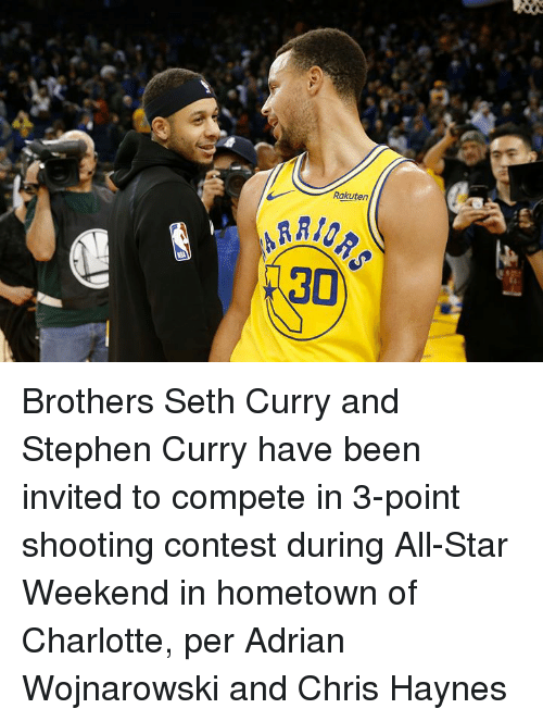 all star weekend: Rakuten  30 Brothers Seth Curry and Stephen Curry have been invited to compete in 3-point shooting contest during All-Star Weekend in hometown of Charlotte, per Adrian Wojnarowski and Chris Haynes