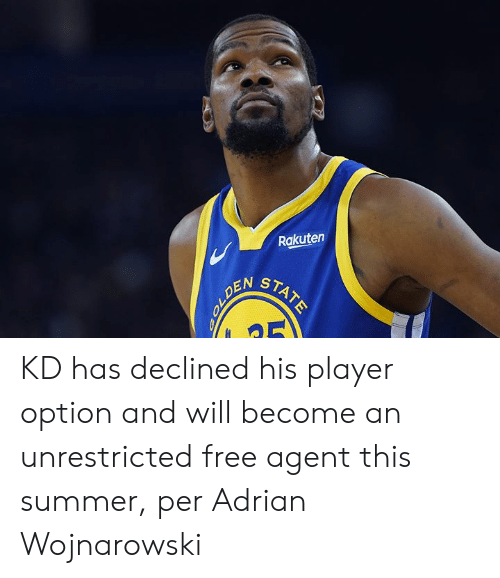 adrian: Rakuten  STATE  OLDEN KD has declined his player option and will become an unrestricted free agent this summer, per Adrian Wojnarowski