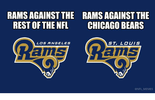 St Louis: RAMS AGAINST THE  REST OF THE NFL  RAMS AGAINST THE  CHICAGO BEARS  LOS ANGELES  ST. LOUIS  ams  ams  @NFL MEMES