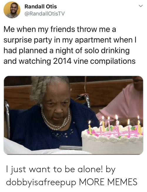 Vine: Randall Otis  @RandallOtisTV  Me when my friends throw me a  surprise party in my apartment when I  had planned a night of solo drinking  and watching 2014 vine compilations I just want to be alone! by dobbyisafreepup MORE MEMES