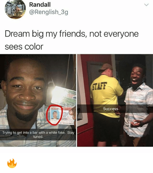 Fake, Friends, and Memes: Randall  @Renglish 3g  Dream big my friends, not everyone  sees Color  TAFF  0  Success  Trying to get into a bar with a white fake. Stay  tuned. 🔥