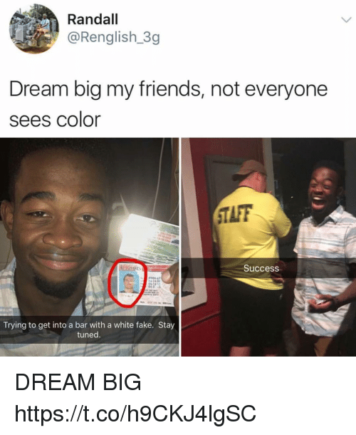 Fake, Friends, and Funny: Randall  @Renglish 3g  Dream big my friends, not everyone  sees color  TAFF  Success  00 47  Trying to get into a bar with a white fake. Stay  tuned DREAM BIG https://t.co/h9CKJ4lgSC