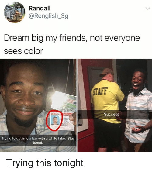 Fake, Friends, and White: Randall  @Renglish.3g  Dream big my friends, not everyone  sees color  TAFF  Success  Trying to get into a bar with a white fake. Stay  tuned Trying this tonight