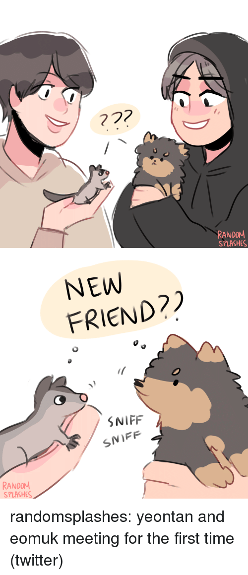 splashes: RANDOM  SPLASHES   NEW  FRIEND?  SNIFF  SNIFF  RANDOM  SPLASHES randomsplashes:  yeontan and eomuk meeting for the first time (twitter)