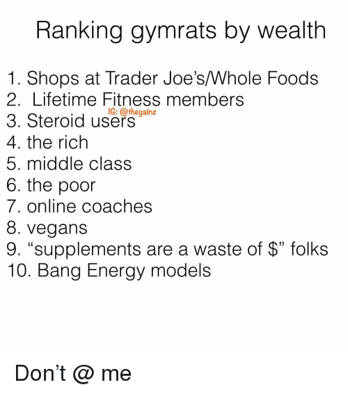 """joes: Ranking gymrats by wealth  1. Shops at Trader Joe's/Whole Foods  2. Lifetime Fitness members  3. Steroid use-  4. the rich  5. middle class  6. the poor  7. online coaches  8. vegans  9. """"supplements are a waste of $"""" folks  10. Bang Energy models  1G: @thegainz Don't @ me"""