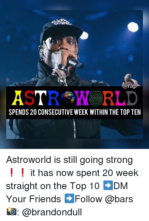 Friends, Memes, and Rap: @rap  0  SPENDS 20 CONSECUTIVE WEEK WITHIN THE TOP TEN Astroworld is still going strong❗️❗️ it has now spent 20 week straight on the Top 10 ➡️DM Your Friends ➡️Follow @bars 📸: @brandondull