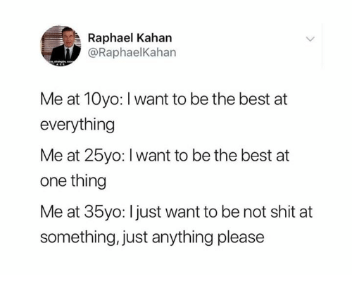 Dank, Shit, and Best: Raphael Kahan  @RaphaelKahan  Me at 10yo: I want to be the best at  everything  Me at 25yo: I want to be the best at  one thing  Me at 35yo: l just want to be not shit at  something, just anything please