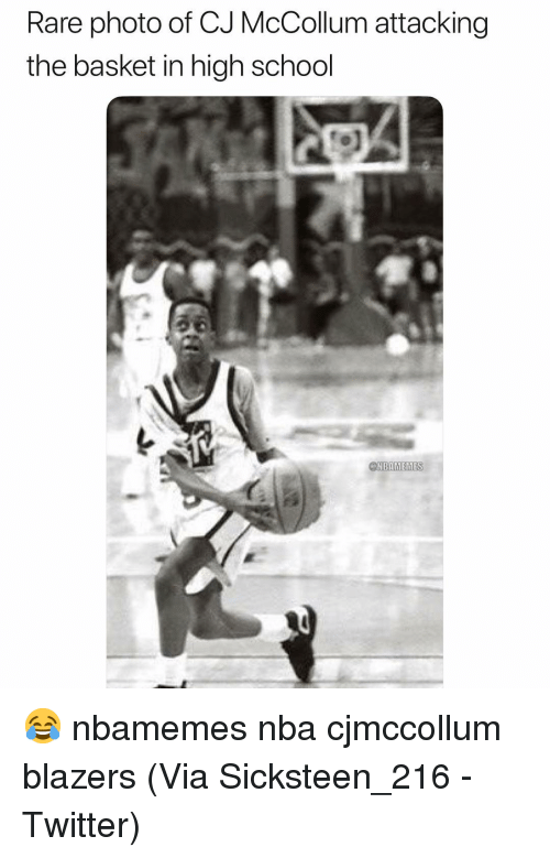 Basketball, Nba, and School: Rare photo of CJ McCollum attacking  the basket in high school  NBAMEMES 😂 nbamemes nba cjmccollum blazers (Via ‪Sicksteen_216 -Twitter)