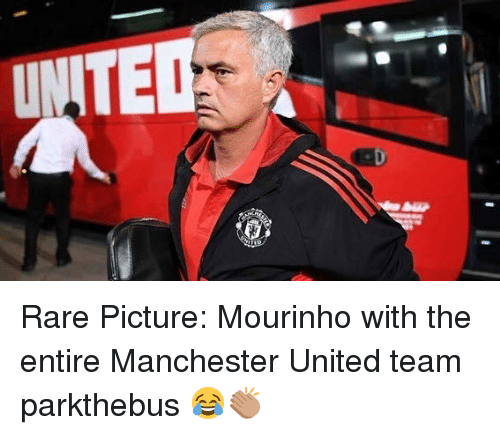 Memes, Manchester United, and United: Rare Picture: Mourinho with the entire Manchester United team parkthebus 😂👏🏽