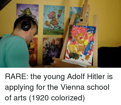 vienna: RARE: the young Adolf Hitler is applying for the Vienna school of arts (1920 colorized)