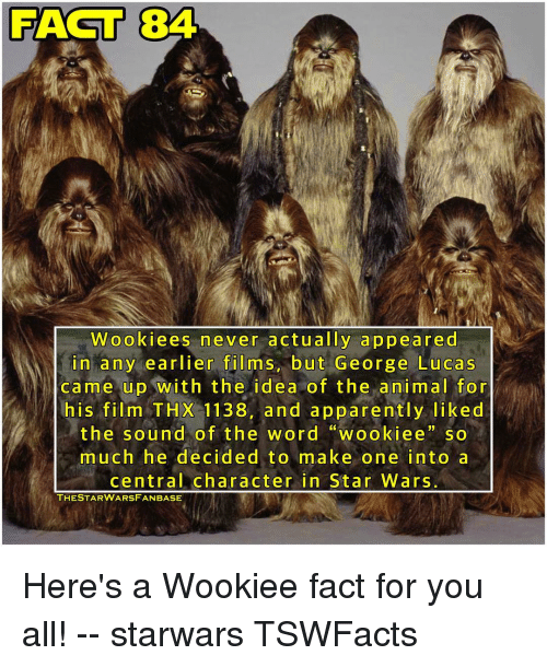 """Wooki: RAST 84  Wooki ees never actually appeared  in any earlier films but George Lucas  came up with the idea of the animal for  his film THX 1138, and apparently liked  the sound of the word """"wookiee so  much he decided to make one into a  central character in Star Wars.  THE STAR WARSFAN BASE Here's a Wookiee fact for you all! -- starwars TSWFacts"""