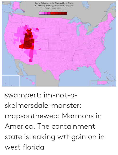 containment: Rate of Adherence to the Church of Jesus Christ  of Latter-Day Saints by United States Countyr  County Equivalent  < 10% >10% >20% >30% >40% >50% >60% >70%-80%-90% swarnpert:  im-not-a-skelmersdale-monster:  mapsontheweb:  Mormons in America.  The containment state is leaking   wtf goin on in west florida