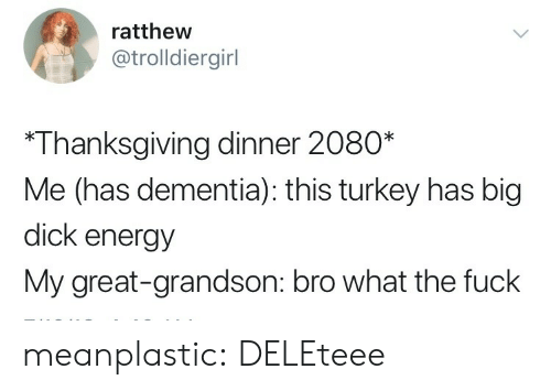 Big Dick, Energy, and Target: ratthew  @trolldiergirl  *Thanksgiving dinner 2080*  Me (has dementia): this turkey has big  dick energy  My great-grandson: bro what the fuck meanplastic: DELEteee