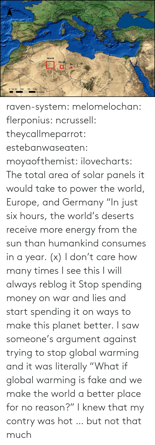 "Wiki: raven-system:  melomelochan:   flerponius:  ncrussell:  theycallmeparrot:  estebanwaseaten:  moyaofthemist:  ilovecharts:  The total area of solar panels it would take to power the world, Europe, and Germany    ""In just six hours, the world's deserts receive more energy from the sun than humankind consumes in a year. (x)  I don't care how many times I see this I will always reblog it  Stop spending money on war and lies and start spending it on ways to make this planet better.   I saw someone's argument against trying to stop global warming and it was literally ""What if global warming is fake and we make the world a better place for no reason?""  I knew that my contry was hot … but not that much"