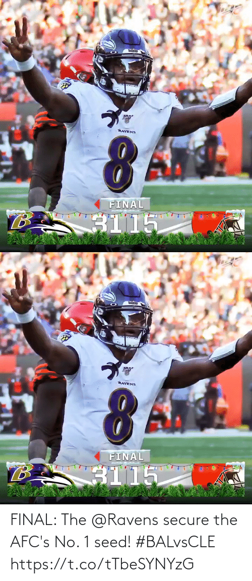 Secure: RAVENS  FINAL  B.  3115   RAVENS  FINAL  B.  3115 FINAL: The @Ravens secure the AFC's No. 1 seed! #BALvsCLE https://t.co/tTbeSYNYzG