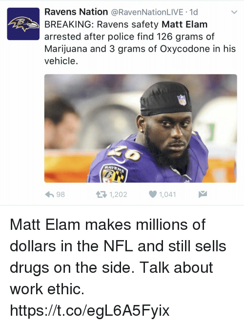Drugs, Nfl, and Police: Ravens Nation  a RavenNationLIVE 1d  BREAKING: Ravens safety Matt Elam  arrested after police find 126 grams of  Marijuana and 3 grams of Oxycodone in his  vehicle  RAVE  1,202 1,041  it R 98 Matt Elam makes millions of dollars in the NFL and still sells drugs on the side. Talk about work ethic. https://t.co/egL6A5Fyix