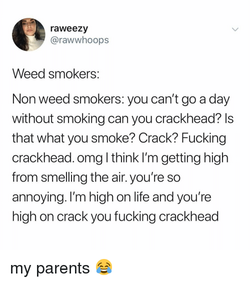 smelling: raweezy  @rawwhoops  Weed smokers  Non weed smokers: you can't go a day  without smoking can you crackhead? ls  that what you smoke? Crack? Fucking  crackhead. omg l think I'm getting high  from smelling the air. you're so  annoying. I'm high on life and you're  high on crack you fucking crackhead my parents 😂