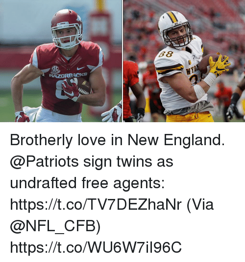 New England Patriots: RAZORBACKs Brotherly love in New England.  @Patriots sign twins as undrafted free agents: https://t.co/TV7DEZhaNr (Via @NFL_CFB) https://t.co/WU6W7iI96C